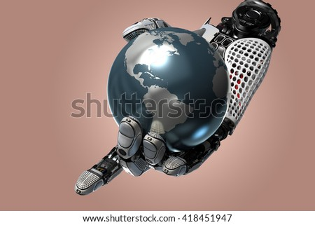 Robotic arm holding earth globe with mechanical fingers. Virtual design elements on futuristic background.3d rendered image. - stock photo