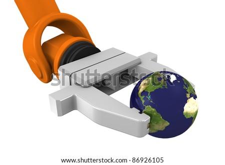Robotic arm holding globe isolated on a white background. - stock photo
