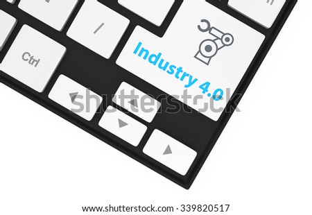 Robotic arm icon and word industry 4.0 on keyboard. Concept for industry 4.0 - stock photo