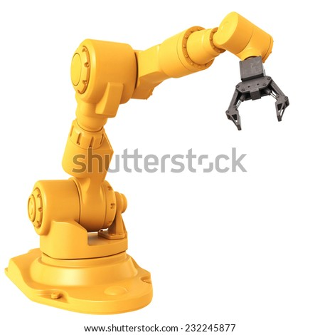 Robotic Arm isolated on white background - stock photo