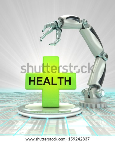 robotic hand creation in futuristic health care industry render illustration - stock photo