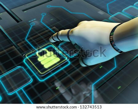 Robotic hand pressing a lock button. Digital illustration. - stock photo