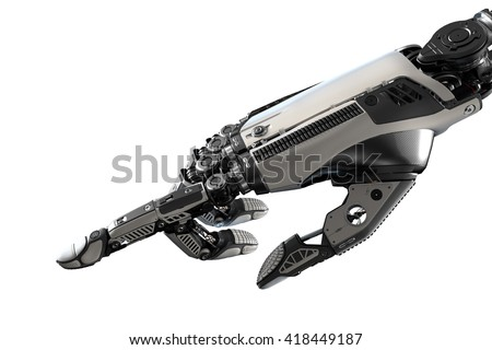 Robotic hand touching virtual user interface with point index finger. Image futuristic template isolated on white background for business website design.3d rendered image. - stock photo
