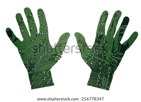 Robotic hands - stock photo