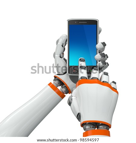 Robotic hands holding a mobile phone with blank screen - stock photo