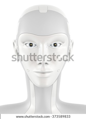 Robotic head looking into the camera. Robot's face with bright eyes. Front view isolated on white background. - stock photo