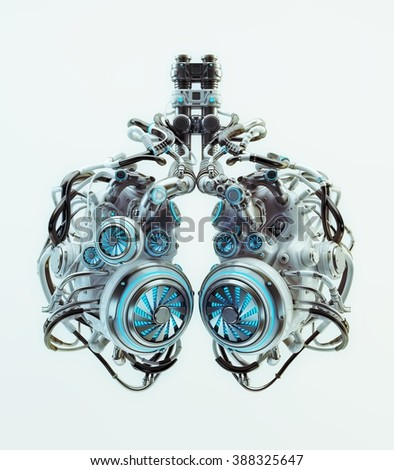 Robotic lungs system - stock photo