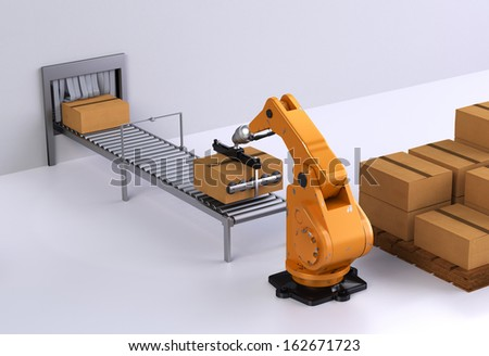 Robotic Palletising and Packaging concept III - stock photo