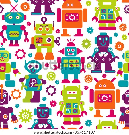Robots color seamless pattern. Texture with funny toy for baby. Can use for production for children. - stock photo