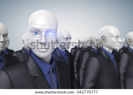 Robots dressed in a business suit - stock photo