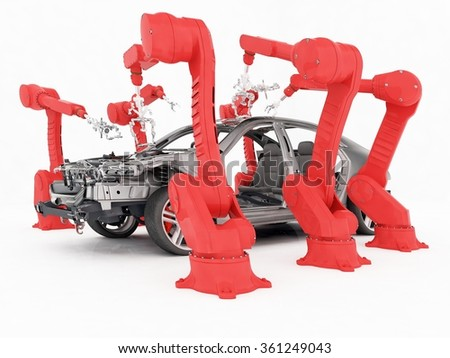 Robots group collected modern car on a white background - stock photo