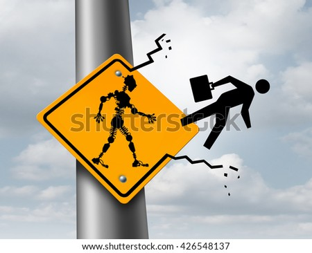 Robots taking jobs technology and employment concept as a robotic cyborg kicking out a human worker out of a sign as a metaphor for the effects of automation with 3D illustration elements. - stock photo