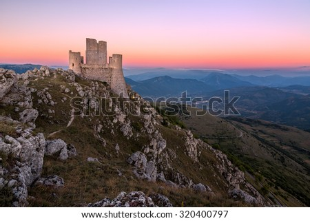 Rocca Calascio at dusk, Abruzzo, Italy - stock photo