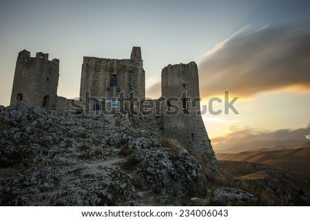 Rocca Calascio medieval ruins castle: the highest castle in Italy in the sunset light - stock photo