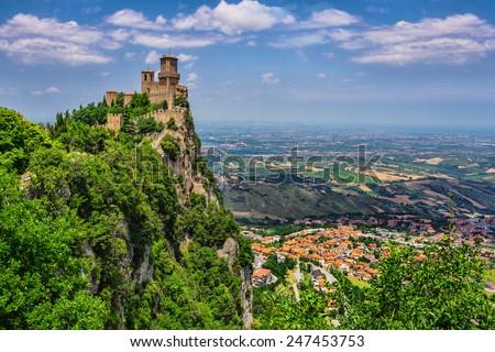 Rocca della Guaita, the most ancient fortress of San Marino, Italy - stock photo