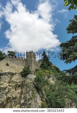 Rocca della Guaita, the most ancient fortress of San Marino, Italy. - stock photo