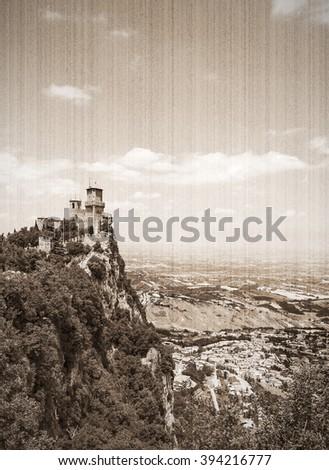 Rocca della Guaita, the most ancient fortress of San Marino, Italy. Old style, sepia - stock photo