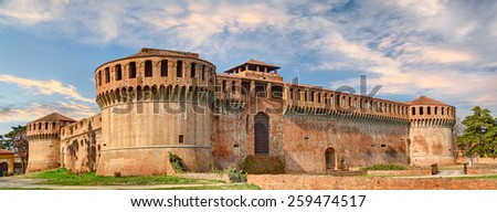 Rocca Sforzesca, ancient castle of Imola (Bologna), famous old italian fortress (14th century), medieval landmark in Emilia Romagna, Italy  