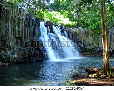 Rochester Falls In Mauritius Island - stock photo