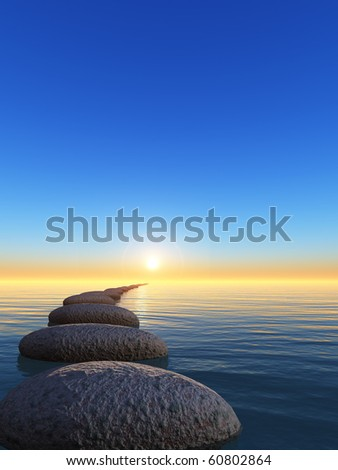rock and sunrise. The abstract bridge in the open ocean from a pebble - stock photo