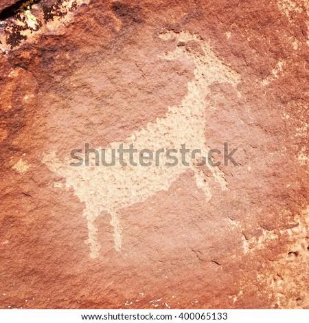 Rock Art Bighorn Sheep - stock photo