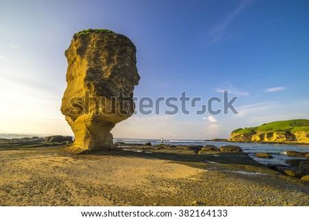 Rock at Pantai Batu Payung ( Umbrella Rock Beach) lombok, Indonesia.  - stock photo