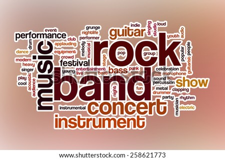 Rock band word cloud concept with abstract background - stock photo