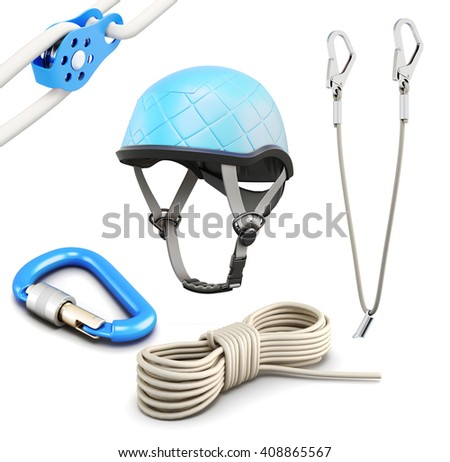 Rock climbing equipment on white background. 3d rendering. - stock photo