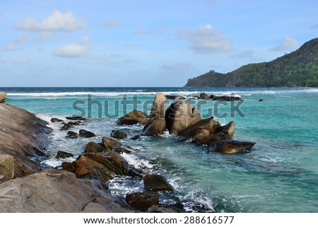 Rock coastline in Seychelles - stock photo