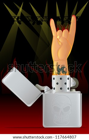 Rock Concert/Rock N Roll Hand and Lighter - stock photo