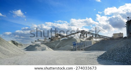 rock crusher machine in quarry - stock photo