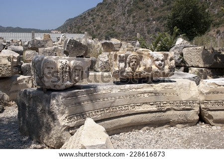 Rock cut tombs in Myra, Demre, Turkey, Scene - stock photo