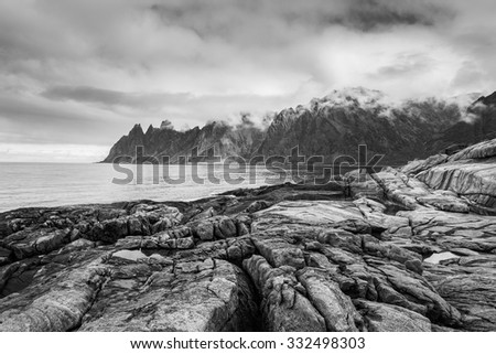 Rock Davil's Jaw. Norwey,island Senja - stock photo