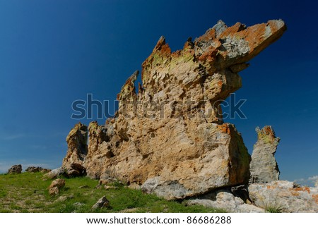 Rock formation in the Isalo national park - stock photo