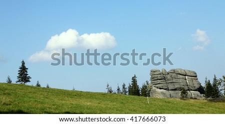 Rock formation - Karkonosze mountains in Poland - stock photo