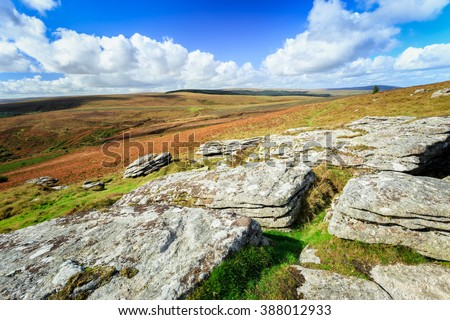 Rock Formation of  Dartmoor National Park in Devon, England. - stock photo