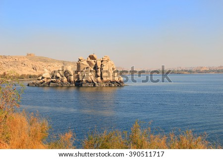Rock formations along the Nile River in Aswan, Egypt - stock photo
