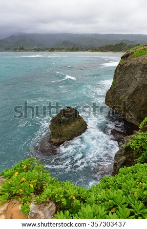 Rock formations and cliffs at Laie Point State Wayside Park in Oahu, Hawaii - stock photo