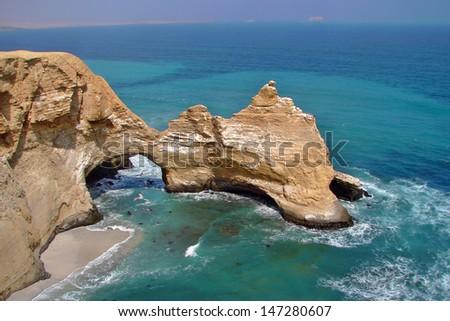 Rock formations at Paracas Peninsula, Peru - stock photo