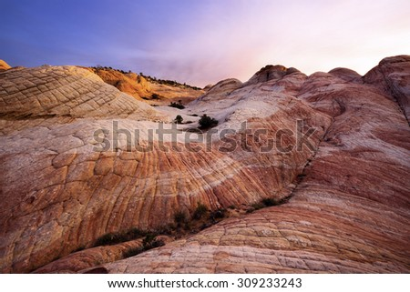 Rock Formations at Yant Flat in southern Utah - stock photo