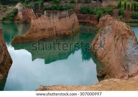 rock formations place,canyon chiangmai - stock photo