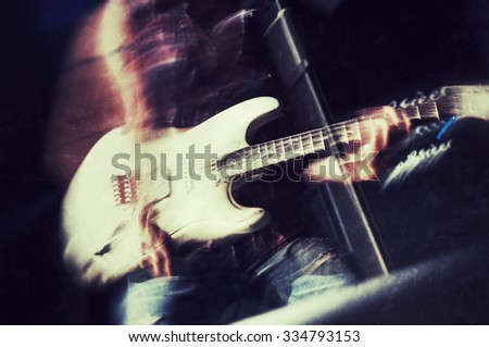 Rock guitarist vintage style photograph - stock photo