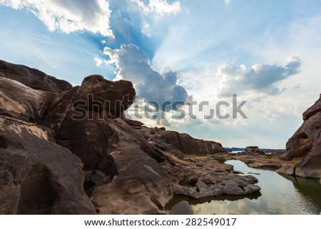 Rock holes Stone in Sam-Pan-Bok Grand Canyon, Thailand - stock photo