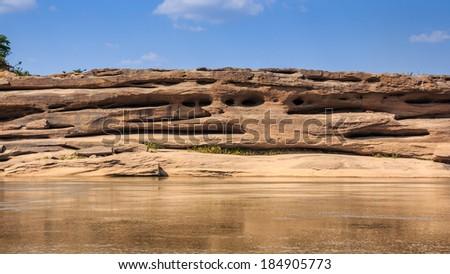 Rock holes Stone View Sam-Pan-Bok Grand Canyon in thailand - stock photo