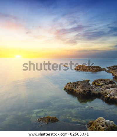 Rock in sea on sunset. Nature composition. - stock photo
