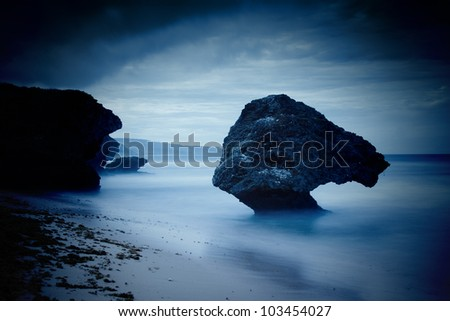 rock in the sea at Bathsheba in Barbados - stock photo