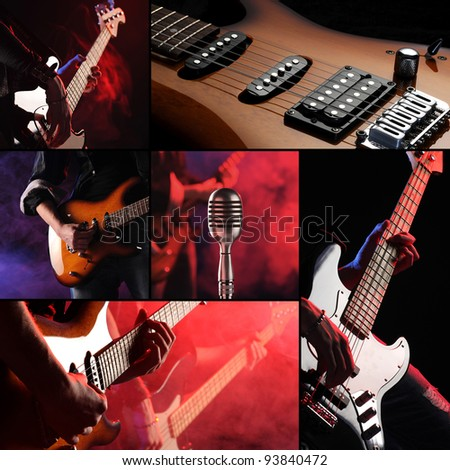 rock live concert collage - stock photo