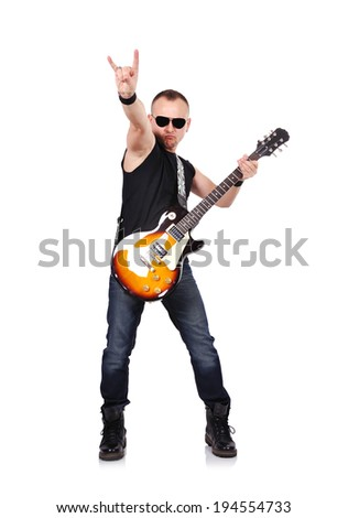 rock musician playing on electrical guitar and guitar combo - stock photo