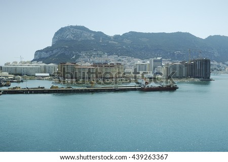 Rock of Gibraltar on a sunny day seen from sea - stock photo