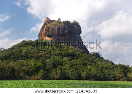 Rock of Sigiriya, the most visited historic site in Sri Lanka. - stock photo